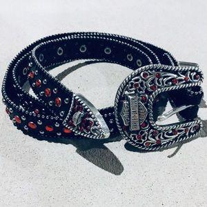{Harley-Davidson}  Slender Bejeweled Leather Belt